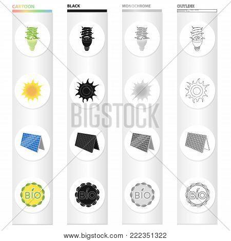 Economical light bulb, solar battery, sun, bio label. Ecology set collection icons in cartoon black monochrome outline style vector symbol stock illustration .