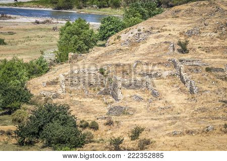 The remains of the walls of the buildings of ancient people in Uplistsikhe, Georgia.