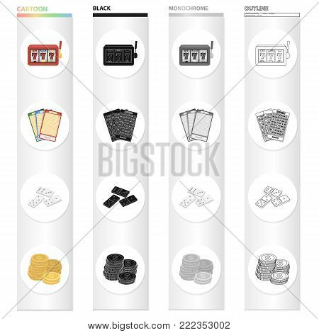 Casino and gambling cartoon black monochrome outline icons in set collection for design. Casino and equipment vector symbol stock illustration.
