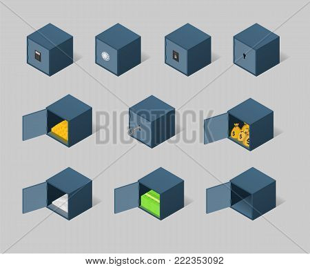 Isometric safe set. Closed and opened metal boxes with gold, cash, money and securities