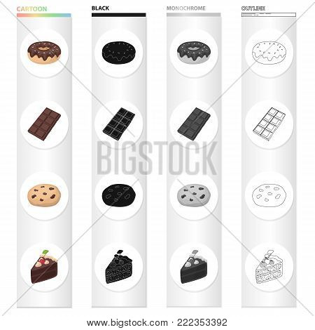 Chocolate donut, chocolate bar, dessert Americano cookies, a piece of cake. Dessert set collection icons in cartoon black monochrome outline style vector symbol stock illustration .