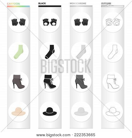 Accessories gloves, sock, women's boot, clothing hat. Clothes and accessories set collection icons in cartoon black monochrome outline style vector symbol stock illustration .