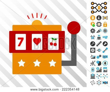 One-Armed Bandit playing cards pictogram with additional bitcoin mining and blockchain pictures. Flat vector style for crypto-currency apps.