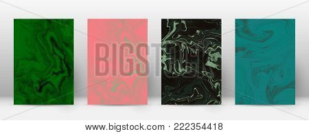 Abstract Cover. Modern Design Template. Alive Suminagashi Marble. Minimalistic Hipster Flyer Design.