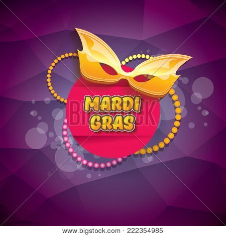 vector new orleans mardi gras vector violet background with blur lights, carnival mask and text. vector mardi gras party or fat tuesday purple poster design template with space for text