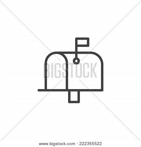 Mailbox line icon, outline vector sign, linear style pictogram isolated on white. Mail box symbol, logo illustration. Editable stroke