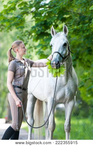 Funny white horse with green maple tree leaves bouquet in mouth standing close to pretty young blondy cheerful teenage girl equestrian in summer park. Vibrant colored outdoors vertical image.
