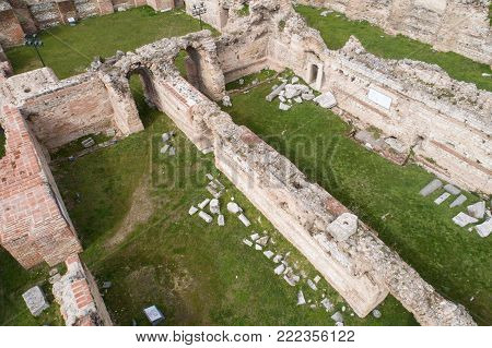 Roman ruins. The Old Roman Baths of Odessos, Varna, Bulgaria