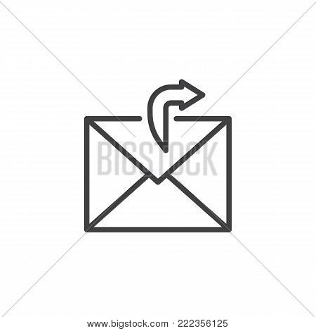 Sending email line icon, outline vector sign, linear style pictogram isolated on white. Outgoing mail symbol, logo illustration. Editable stroke