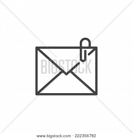 Mail attachment line icon, outline vector sign, linear style pictogram isolated on white. Envelope with paperclip symbol, logo illustration. Editable stroke