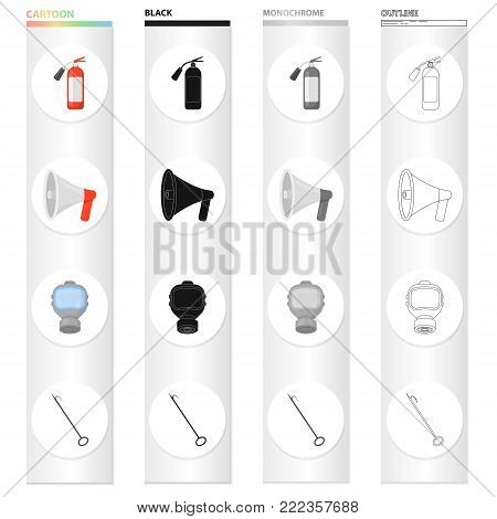 Fire extinguisher, megaphone, protective gas mask, hook. Fire Department set collection icons in cartoon black monochrome outline style vector symbol stock illustration .