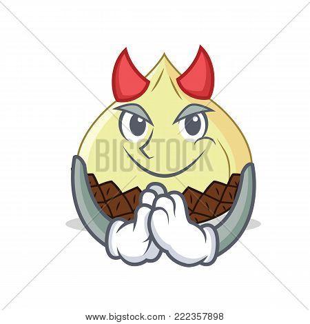 Devil snake fruit mascot cartoon vector illustration