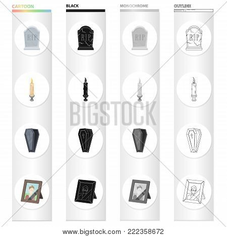 A gravestone with an inscription, a lighted candle, a coffin, a photograph of the deceased. Funeral ceremony set collection icons in cartoon black monochrome outline style vector symbol stock illustration .