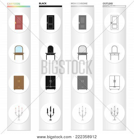 A door, a piece of furniture a dressing table, a wardrobe, a candlestick. Furniture set collection icons in cartoon black monochrome outline style vector symbol stock illustration .