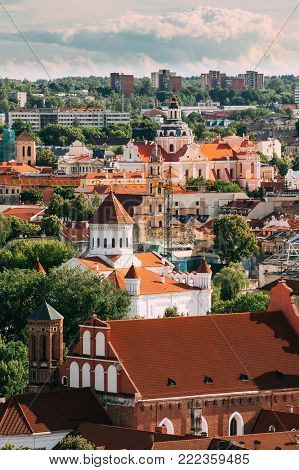 Vilnius, Lithuania. View Of Church Of St. Casimir, Church Of Blessed Virgin Mary Of Consolation, Cathedral Of Theotokos, Church Of St. Francis And St. Bernard In Old Town Of Vilnius.