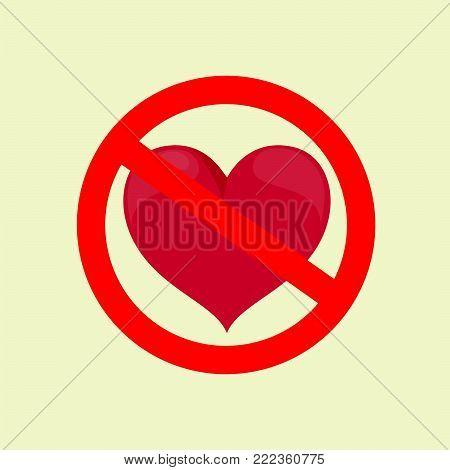 No Love. Stock vector illustration for poster, greeting card, website, ad, business presentation, advertisement design