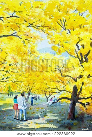 Painting watercolor landscape original yellow orange color of golden tree flowers,and lovers couple man,woman,family in travel. Hand painted, blue sky cloud background,beauty nature spring season.