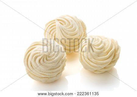 Homemade zephyr or marshmallow isolated on white background. Marshmallow, Meringue, Zephyr