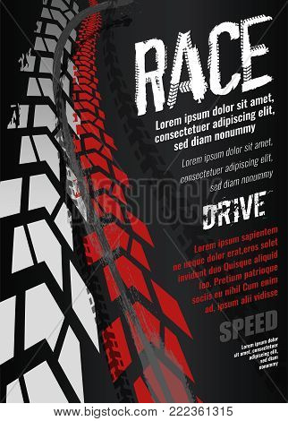 Vector automotive banner template. Grunge tire tracks backgrounds for landscape poster, digital banner, flyer, booklet, brochure and web design. Editable graphic image in grey and white colors