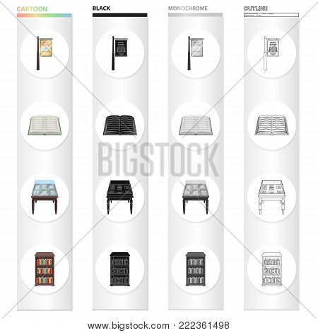 Library furniture, a book store sign, a table with manuscripts, a bookcase. Library set collection icons in cartoon black monochrome outline style vector symbol stock illustration .