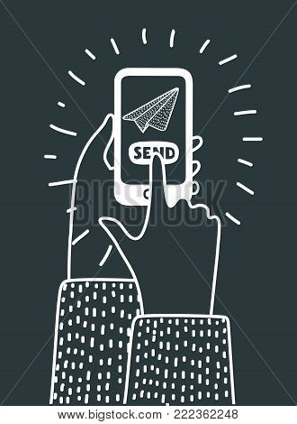 Vector cartoon outiline illustration of sending messages, SMS, email from mobile phone. Smartphone icon. Hand holds telephone. Hand drawn concept in black and white colors and modern style
