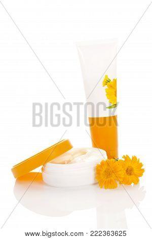 Nourishing Medical Cream From Calendula Flower Isolated On White Background. Calendula Officinalis.
