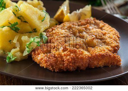 Homemade Breaded Viennese Schnitzel