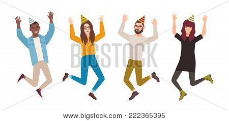 Happy men and women celebrating birthday, anniversary or holiday. Joyful jumping people wearing party hats. Flat male and female cartoon characters isolated on white background. Vector illustration