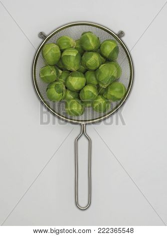 STAINLESS STEEL SIEVE FRESH BRUSSELS SPOUTS ON WHITE BACKGROUND