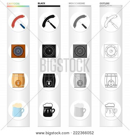Sausage on the fork, musical speaker in the pub, wooden barrel with beer, beer mug. Pab and party set collection icons in cartoon black monochrome outline style vector symbol stock illustration .