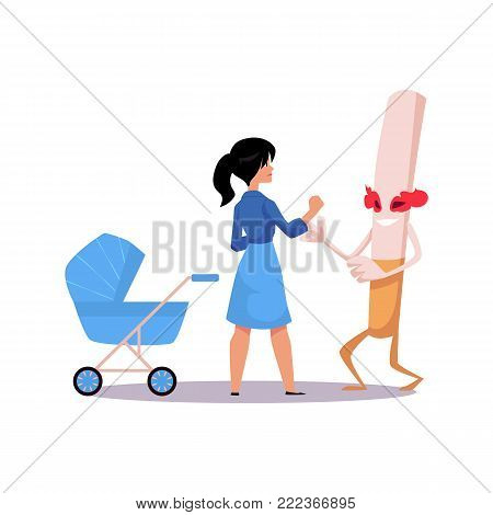 Vector flat huge evil cigarette monster character with burning eyes, legs and arms fighting with mother defending baby stroller. Nicotine addiction, tobacco smoking risk, threat concept illustration