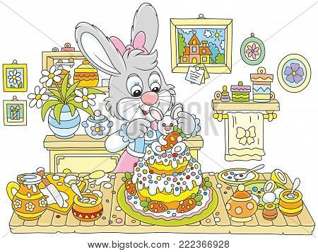 Little bunny decorating a fancy cake to Easter, a vector illustration in funny cartoon style