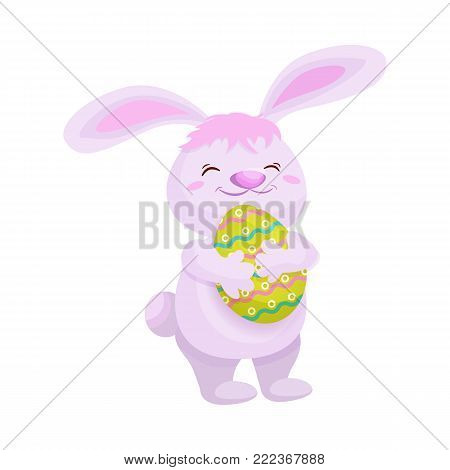 Cute fluffy pink bunny with painted egg, Easter decoration element, cartoon vector illustration isolated on white background. Smiling cartoon Easter bunny, rabbit, hare holding decorated egg