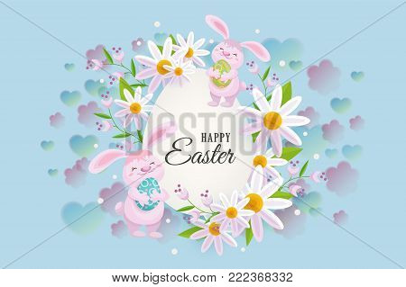Horizontal Easter sale banner, postcard, card with egg shaped center element, text and cute bunnies, vector illustration. Happy Easter postcard, greeting card, banner template with bunnies and flowers