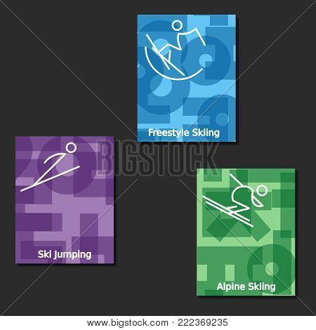 Three letter-size banners of skiing competitions featured in the winter games. Graphics are grouped and in several layers for easy editing. The file can be scaled to any size.