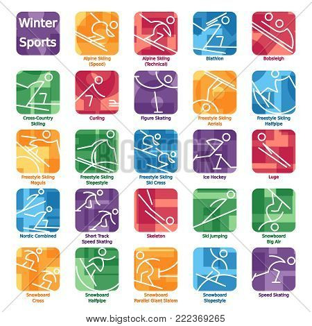 Set of 24 colorful icons of sports featured in the winter games. Graphics are grouped and in several layers for easy editing. The file can be scaled to any size.