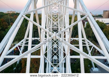 ROSTOV-ON-DON, RUSSIA - CIRCA OCTOBER 2016: The One Sky Ferris Wheel in Rostov-on-Don, popular tourist attraction. View from inside