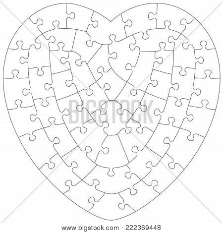 Heart shaped jigsaw puzzle blank template with irregular hand-cut style transparent (for vector mode) pieces, suitable for Valentine's Day, wedding and romantic designs and projects