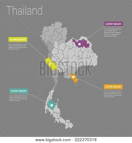 Map Thailand i concept. Political Thailand Map infographic. EPS Thailand map infographics design template