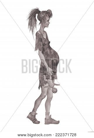 A pregnant beggar girl in rags with a doll in her hands symbolizing a desecrated childhood