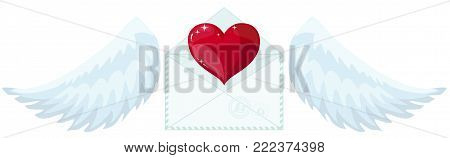 Illustration envelope with wings like Cupid Sending love and heart.Valentine s Day. letter icon symbol simple abstract on background. vector.