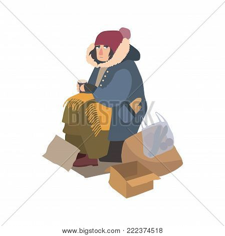 Poor homeless woman dressed in ragged outerwear sitting on street beside pile of garbage, holding paper cup and begging for money. Cartoon character isolated on white background. Vector illustration