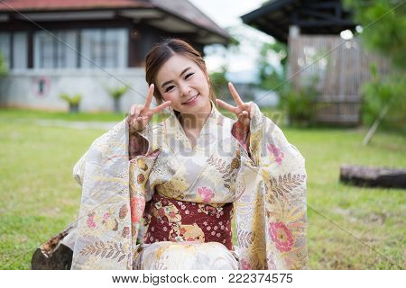 Portrait of Asia girl cute with japanese yukata