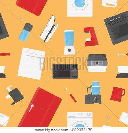 Seamless pattern with kitchen appliances, equipment, utensils, manual and electronic tools for food processing, preparation or home cooking. Colorful vector illustration for wallpaper, textile print