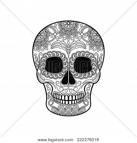 Day of The Dead Skull, sugar skull with floral ornament black and white vector Illustration, tattoo sketch