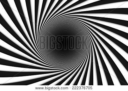 black and white abstract background lines black hole 3d illustration