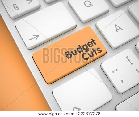 Budget Cuts Key on the Keyboard Keys. with Orange Background. Aluminum Keyboard Button Showing the TextBudget Cuts. Message on Keyboard Orange Keypad. 3D Render.