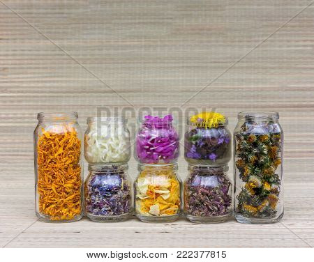 set of glass jars with different flowers, petals and herbs for aromatherapy and alternative medicine with copy space.