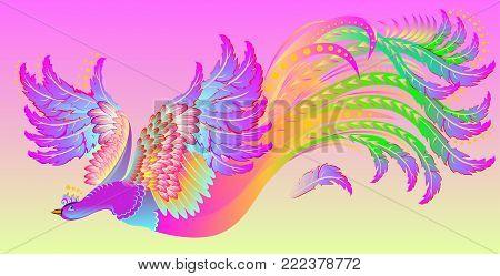 Illustration of flying fairyland pink bird, vector cartoon image.