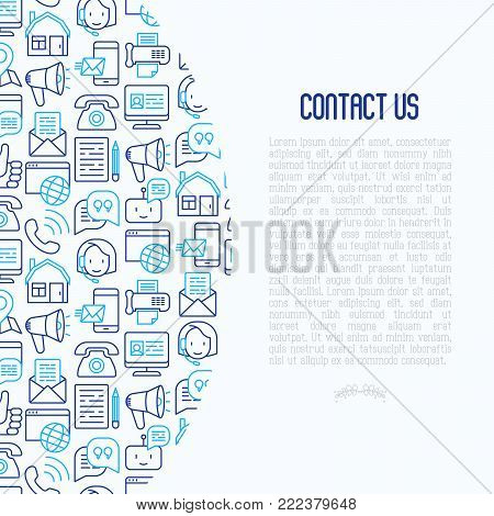 Contact us concept with thin line icons of telephone, fax, operator call center, e-mail, chat bot, pointer, feedback. Modern vector illustration for banner, web page, print media.